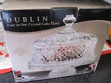 Godinger Shannon Crystal 4-in-1 Crystal Cake Plate  Dome Lid Cover PUNCH VEG NIB