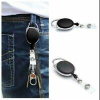 Retractable Reel Recoil ID Badge Lanyard Name Tag Key Holder Ring ddcc Card H8M5
