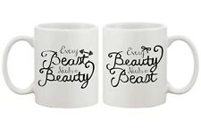 Every Beauty Needs a Beast Matching His and Hers Romantic Couple Coffee Mugs