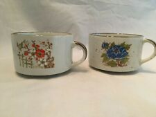 Stoneware Speckled Hand-Painted Floral Pattern Coffee Soup Mugs  Set of 2
