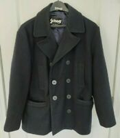 $425 Schott NYC Slim Wool Peacoat - Navy Blue, XL - Made in Canada