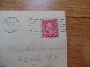 1921 2-Cent Red George Washington President U.S. POSTAGE STAMP RARE on postcard