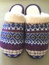 Isotoner Womens Slippers sz 7.5-8 Purple Fair Isle Mules Clogs Slides New