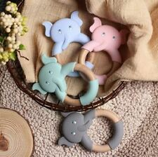 Beißring Greifring Greifling Zahnungshilfe Elefant Schaf aus Silikon Buche Holz