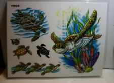 "Tattoo Flash Sea Turtle ocean 11"" × 8"" laminated copy tattoo ideas y4"