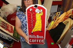 """Rare Vintage 1915 Hills Bros. Coffee 21"""" Porcelain Metal Thermometer Sign"""