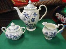 Beautiful J&G Meakin BLUE NORDIC Pottery TEA POT & SUGAR & CREAMER