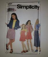 Simplicity 9491 Size 7-16 Girls' Dress or Jumper Jacket Knit Top