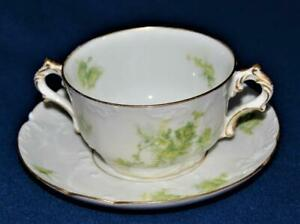 Antq 1890s CHARLES FIELD HAVILAND LIMOGES Green LEAVES Set 2 Handles Cup Saucer