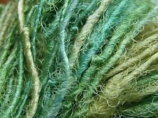 Soft, Glossy Silk Yarn, Multi-Greens, 50g. Knit/Crochet/Weave/Textile Arts