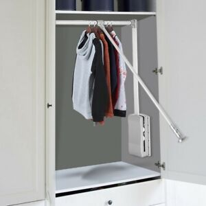 Lift Pull Down Adjustable Width Wardrobe Clothes Hanging Rail Soft Return Poles