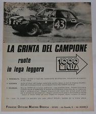 Advert Pubblicità 1972 LANCIA FULVIA COUPE' / RUOTE MILLE MIGLIA