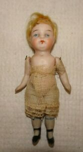 "Antique All Bisque 3 1/2"" Doll Blue Eyes  - Jointed Mignonette German French"