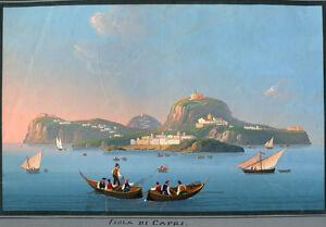 """19th c. Neopolitan School Painting """"Isola di Capri"""""""