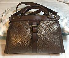 Fossil Vintage Revival VRV Brown Embossed  Leather Satchel Bag Tote Shopper Rare