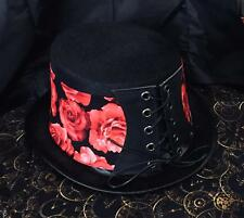 Top Hat Red Roses Flowers Floral Corset Biker Gothic Steampunk Rock feeanddave