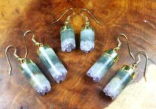 Druzy Earrings - Amethyst Crystal Earring Set - Gold Hooks (H11)