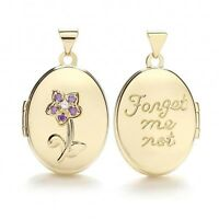 9carat Yellow Gold Oval 'Forget Me Not' Purple Cz Flower Locket Size 20x15mm