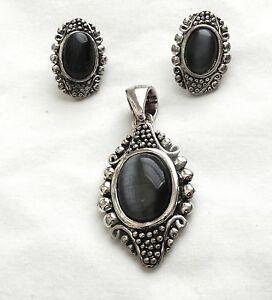 HOT TRENDY Pendant Earring Set Faux Black Star Sapphire Silvertone Jewelry