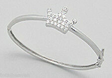 Solid Sterling Silver BABY Crown Bangle Bracelet 5g RHODIUMED for Non Tarnish