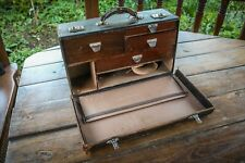 More details for antique - leather case - doctors surgeons - with wooden drawers - makers mark