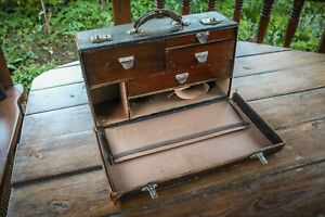 Antique - Leather Case - Doctors Surgeons - With Wooden Drawers - Makers Mark