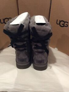 New in box UGG Mini Continuity Bow Grey Suede Boot Wool Lining women's Size 6