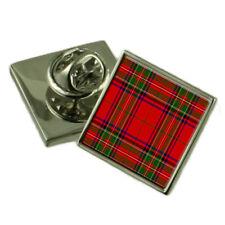 Tartan Clan Stuart Silver 925 Lapel Pin Badge