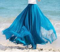 NEW Full Circle Chiffon Skirt Long Skirt 7 colors  S M L XL XXL 3XL