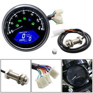 LCD Digital Motorcycle Speedometer Tachometer  Cafe Racer moto Odometer 12000RPM