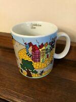 Vivi Mug 1982 Cobblestone Lane Very Colorful Large Heavy Street Scene Coffee Cup