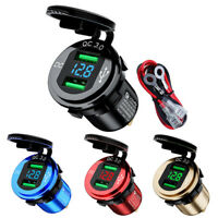 QC3.0 Dual USB Car Charger Fast Power Adapter Socket for iPhone Dust/ Waterproof