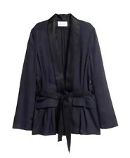 H&M Conscious Exclusive Silk Blend Black Jacket Blazer Coat US 6 EU 36 Erdem