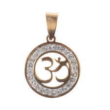 """Fashion New Stainless Steel Gold/Silver Yoga """"OM"""" Crystals Necklace Pendant Gift"""