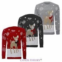 Womens Ladies Xmas Christmas Plus Sizes Jumper Bambi Deer Sweater
