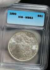 1890 Morgan Silver Dollar ICG MS63 COIN