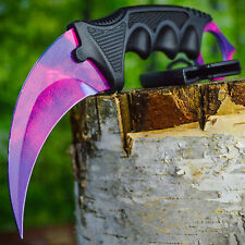 TACTICAL COMBAT KARAMBIT NECK KNIFE Survival Hunting BOWIE Fixed Blade DOPPLER