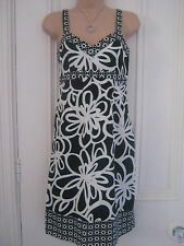 Pretty Next size 14 black and white slim fitting cotton dress