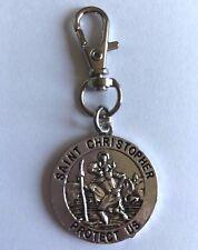 ST CHRISTOPHER KEY RING BAG CHARM SILVER COLOUR PATRON SAINT TRAVEL CAR Gift Bag