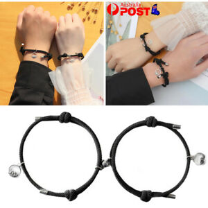 2PCS Attract Couples Bracelets Magnetic Buckle Adjustable Braid Lover Rope Chain