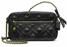 Coach Poppy Quilted Flight Bag  black 25079