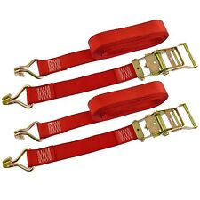 Red Ratchet Strap Tie Down Trailer 5m Hook Cargo Strap 750kg Lashing x 2 (Pair