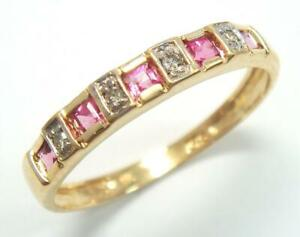 SYJEWELLERY 9CT YELLOW GOLD NATURAL TOURMALINE & DIAMOND BAND RING SIZE N R1081