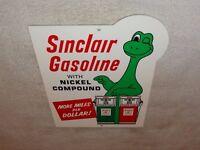 "VINTAGE SINCLAIR GASOLINE W/ DINO DINOSAUR +GAS PUMP 12"" METAL GASOLINE OIL SIGN"