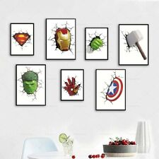 Marvel Avenger 3D Canvas Print Super Hero Broken Wall Cartoon Art Mural Poster