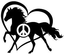 PEACE LOVE AND HORSES Vinyl Decal Sticker Car Window Wall Bumper Heart Black