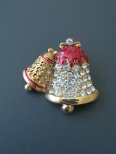 Vintage Fashion Gold Tone Christmas Bells Red Enamel Crystal Jewelry Brooch Pin