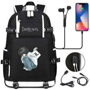 DEATH NOTE USB Backpack School bag Durable Laptop Travel bags rucksacks Mochila