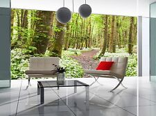 Forest with White Flowers Wall Mural Photo Wallpaper GIANT WALL DECOR Free Paste