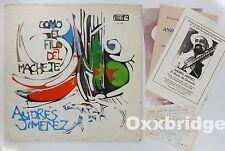 ANDRES JIMENEZ Como El Filo Del Machete 1st PRESS LP Concert Tickets Handbill